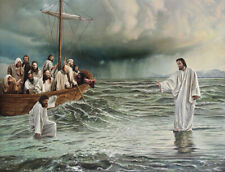 CHRISTIAN ART JESUS WALKS ON WATER 8 X 10 PHOTO