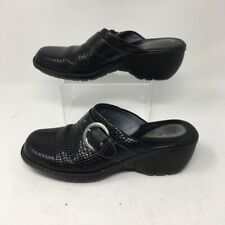 Clarks Womens Mules Clogs Wedge Heels Shoes Black Leather Slip On Woven 7 M