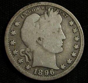 1896 25C Barber Liberty Head Silver Quarter AN9