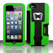 For Apple iPhone 5 5S SE KICKSTAND Case Bottle Opener Card Holder Black Green