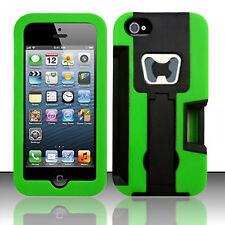 For Apple iPhone 5 5S SE KICKSTAND Case Bottle Opener Card Holder Black Green