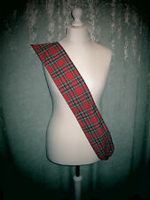 Red Tartan Sash Burns Night Fancy Dress Scottish Plaid Royal Stewart
