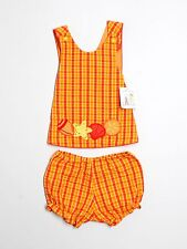 New Baby Girl Austin & Ashley Orange Plaid Sea Shell Summer Set Size 18 Months