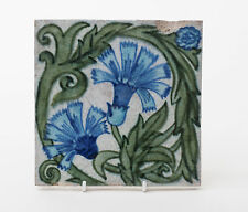 Antique William De Morgan Blue Carnation Flower Arts & Crafts Tile