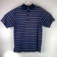 FJ FootJoy Mens Navy Blue White Short Sleeve Collared Striped Polo Shirt Size M