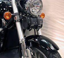 Moto Custom Stile Con Borchie Cilindrica Nera Rotolo Accessori Pelle Look