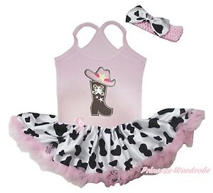 Cowgirl Hat Boot  Light Pink Halter Neck Bodysuit Milk Cow Baby Dress Set NB-24M