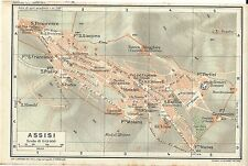 Carta geografica antica ASSISI Pianta Perugia Umbria TCI 1922 Old antique map