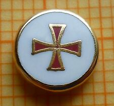 Lapel Pin Badge - Gilt  7.5  mm White Red enamel - Masonic Templar KT Preceptory
