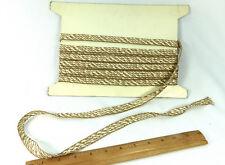 """Trim Ivory Rayon Gold Metallic Thread Quality Gelberg Braid 7 Yds 1/2"""" Wide"""