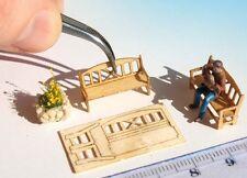 8 Miniature wooden bench KIT HO OO scale laser cut model railway station scenery