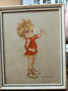 "Brownie Downing Print Framed ""Good Morning"" circa 1960's"