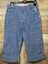 Girls Size 12 Carhartt Capri Pants Chambray Blue Lightweight Flower Accent New