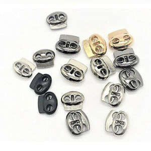 10x Metal Stopper Spring Toggle Cord Lock Ends Clip DIY Clothing Accessory FT