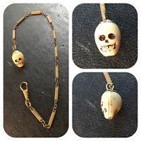 Memento mori skull pocket watch chain