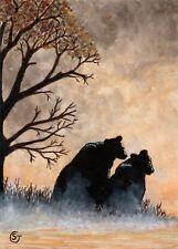 ACEO Bear Dawn Fog Mist Mixed Media Painting ORIGINAL Art Sherry Goeben