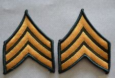 US Army Sergeant E-5 Stripes~ Chevron Patches~ Set of 2~ Gold on Green Patch NOS