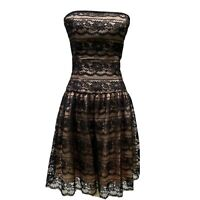 Jessica McClintock For Gunne Sax Vintage Strapless Lace Party Dress