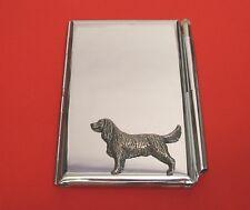Springer Spaniel Motif on Chrome Notebook / Card Holder & Pen Christmas Gift