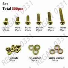 300pcs M3 Brass Phillips Pan Head Screws Bolt & Hex Nuts Washers Assortment