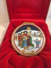 Halcyon Days English Enamel 1993 Olde English Christmas Lg Round