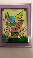Fold out Painted Glass Stained style glass look Picture Frame 5 X 8 Bi-Fold