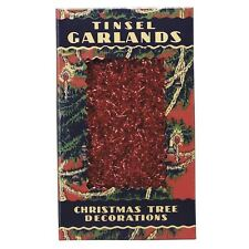 Antique Vintage 60's Style Tinsel Garland Red Holiday Christmas Tree Retro Decor