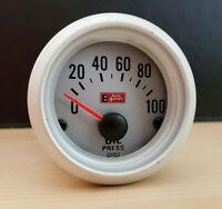 "Auto Gauge Electric Oil Pressure 52mm 2"" Silver Face 1/8-27 NPT Sensor 0-100psi"