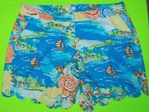 Crown & Ivy Cotton Stretch Ocean Beach Sailboat Scalloped Hem Curvy Shorts 18W