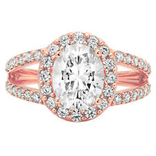 2.44ct Oval Cut Halo Designer Engagement Wedding Bridal Ring Solid 14k Rose Gold