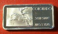 Colorado State Art Bar 1 oz.999 Silver by Hamilton Mint   Ingots of The US Set