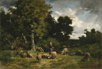 Charles Jacque Shepherdess and Her Sheep Charles Giclee Paper Print Poster
