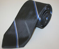 Brooks Brothers Grey With Blue Stripes Woven Textured Silk Tie Made USA