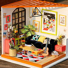 DIY Wooden Music Living Room 3D Dollhouse With Furniture Kit Light Creative Gift