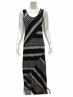 Lisa Rinna Collection Regular Stripe Printed Knit Maxi Dress Taupe Small Size