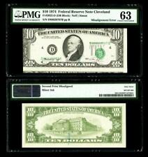 Misaligned Face Printing Error Fr. 2022-D $10 1974 Fr Note. Pmg Choice Unc 63
