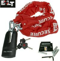 Bolt Motorcycle 1.8m Chain Shackle Lock With Oxford Ground Anchor Bike Security