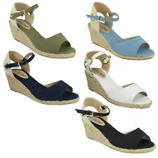 Ladies Spot on Canvas Wedge Sandals Style - F2247 White 5 UK Standard