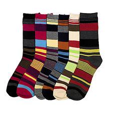6 Pairs Women Comfort Socks Girls Multi Mix Color Stripe Long Crew Pack 9-11 Lot