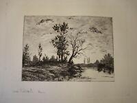 ECOLE FRANCAISE XIX GRAVURE EAU FORTE PAYSAGE RIVIERE BARBIZON imp. CADART 1870