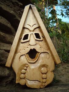 "Unique Hippy Bird House Hand Carved Sunglass Face Wood Spirit 16"""