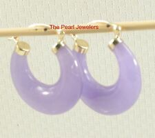 TPJ 14k Solid Yellow Gold Featuring Moon Shape Design Lavender Jade Hoop Earring