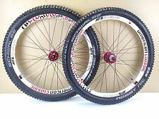"American Classic Terrain MTB 26"" Tubeless Wheels Wheelset - White & Red USED 086"