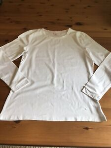 TU Size 18 White Cotton Stretch Long Sleeved Top Round Neck