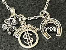"Shamrock Good Luck Jackpot Charm Tibetan Silver 18"" Necklace BIN"