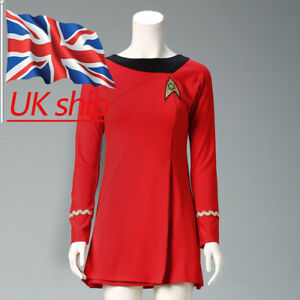 Classic Star Trek Female Duty TOS Red Uniform Dress Cosplay Costume Suit Adult