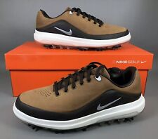 Nike Air Zoom Precision Golf Shoes White Silver Brown Leather 866065 200 Sz 9.5