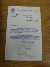 24/06/1966 Bury: Official Letter from Chairman, requesting the completion of a q