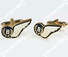 WW2 Style BOMBER COMMAND WING CUFFLINKS - British Military RAF Brass Pin Badge