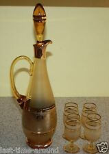 Bohemian decanter pitcher amber w/gold, frosted + 4 cordial stems liquor glasses